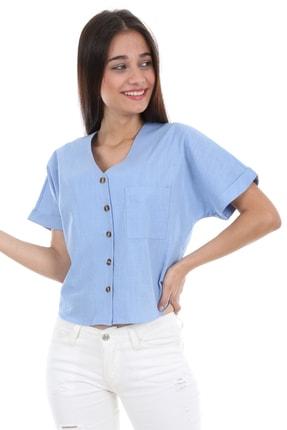Bigdart Kadın Mavi Tek Cep Düğmeli Kısa Kol Bluz 0358