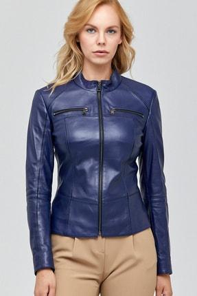 Derimod Kadın Parliament Mavi Deri Ceket