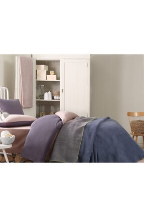 English Home Softy Düz Çift Kişilik Battaniye 200x220 Cm Mavi - Gri