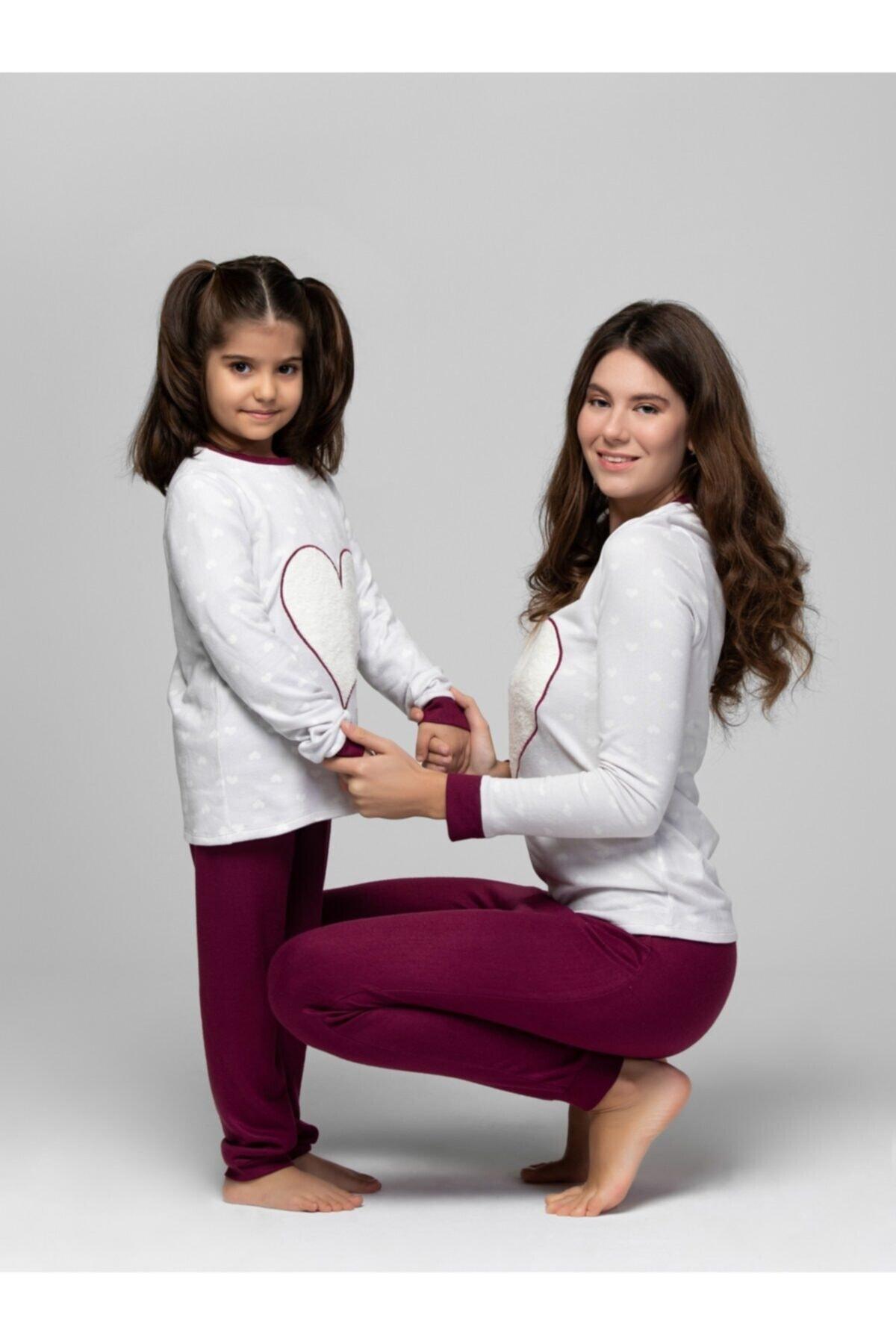 JUST BASIC Kadın Gri Lovely Anne Kız Pijama Takımı 2