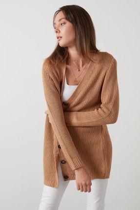 Lela Kadın Camel Soft Akrilik Triko Örme Uzun Hırka