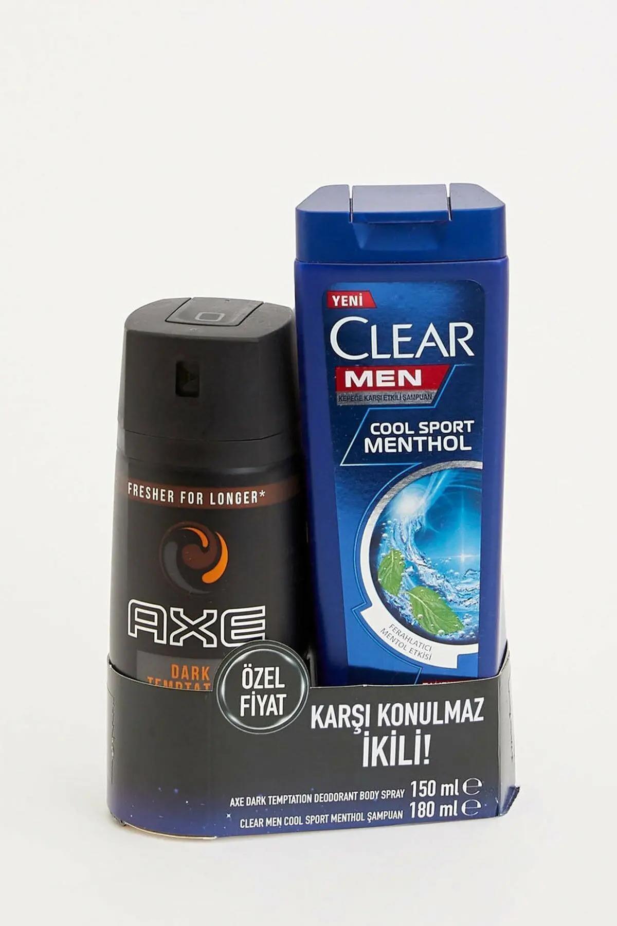 Axe Dark Temptation Deodorant Body Spray + Clear Men Cool Sport Menthol Şampuan 1