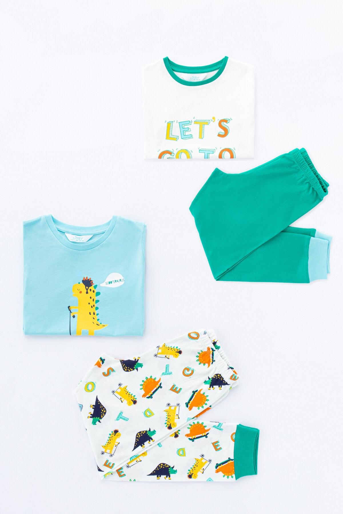 Penti Çok Renkli Erkek Çocuk Skater Dino 4Lü Pijama Takımı