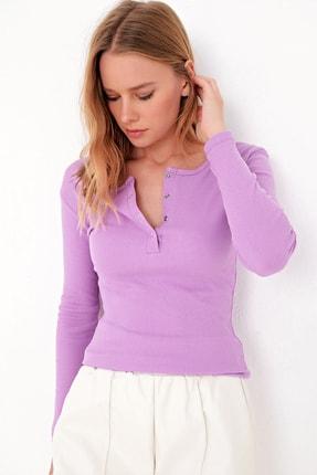 Trend Alaçatı Stili Kadın Lila Çıtçıtlı Kaşkorse Bluz MDS-345-BLZ