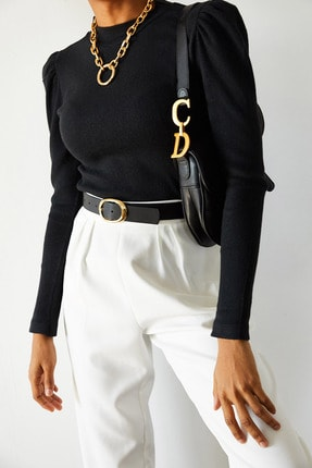 XENA Kadın Siyah Omuzları Büzgülü Bluz 1KZK3-10750-02