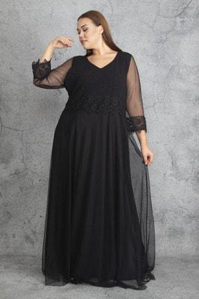 Şans Kadın Siyah Dantel Ve Tül Deyatlı Astarlı Simli Abiye Elbise 65N19350