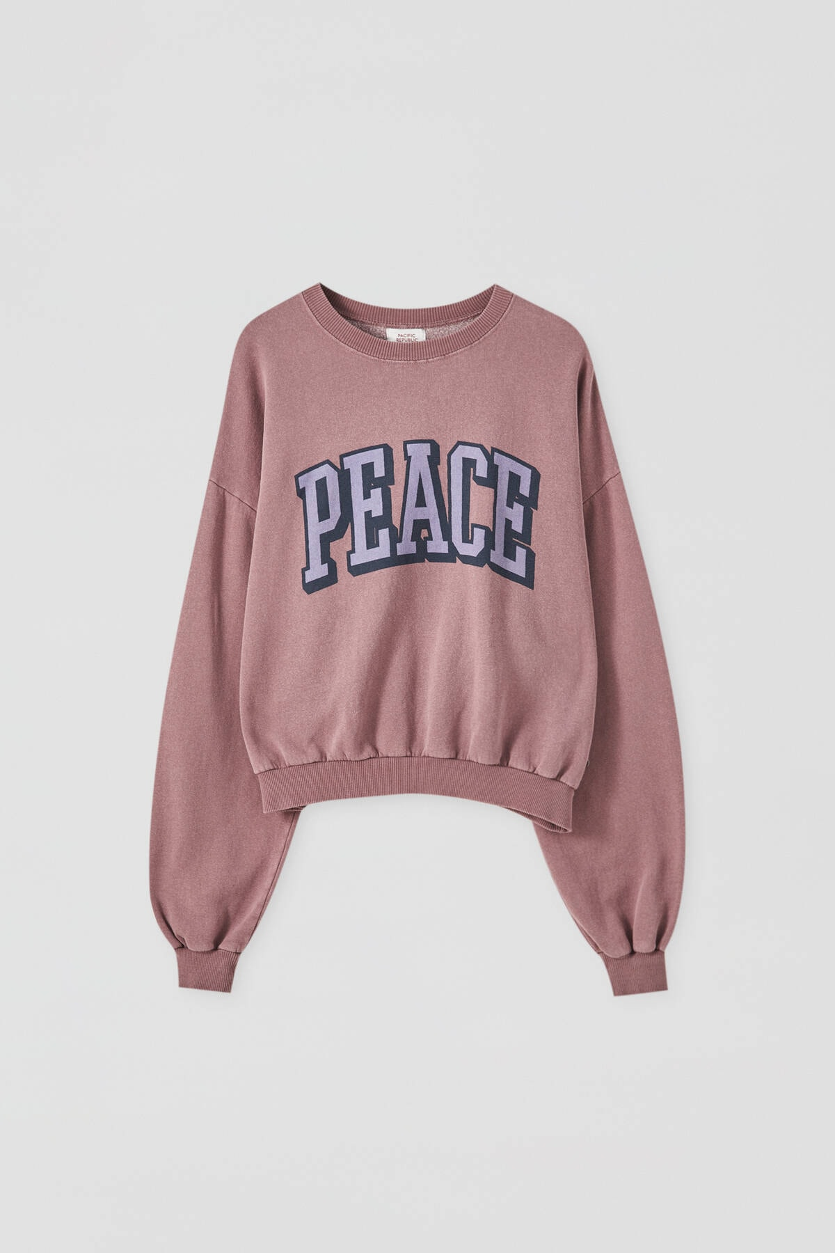 "Pull & Bear Kadın Koyu Pembe  ""Peace"" Sloganlı Sweatshirt 09594348"