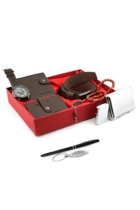 Zengin Hediyeler 10 Parça Kahverengi Yatay Patlı Erkek Cüzdan Saat Kartlık Kemer Tabaka Çakmak Kalem Seti