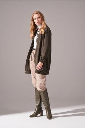 Mizalle Kadın Haki Fermuarlı Krep Ceket