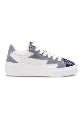 Pegia Kadın Turkuaz Beyaz Hakiki Deri Payetli Sneaker La1501