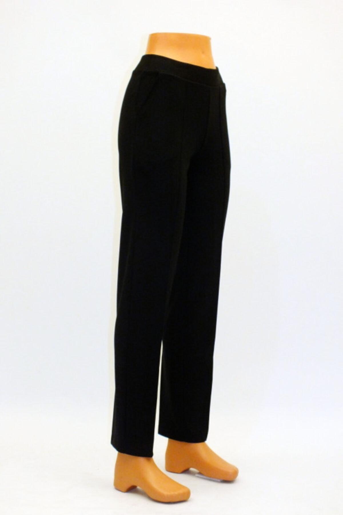 Otto Kadın Siyah Çelik Örgü Önden Ütü Izli Cepli Pantolon 2