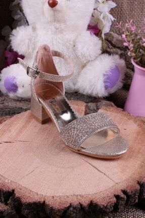 Akıllı Şirin Kız Çocuk Altın Bilekten Bağlamalı Topuklu Taş Işlemeli Genç  Ayakkabı