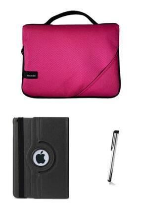 "Moserini Ipad Air2 9.7"" Smart Slim Fuşya Tablet Çantası Siyah Dönerli Kılıf Kalem"