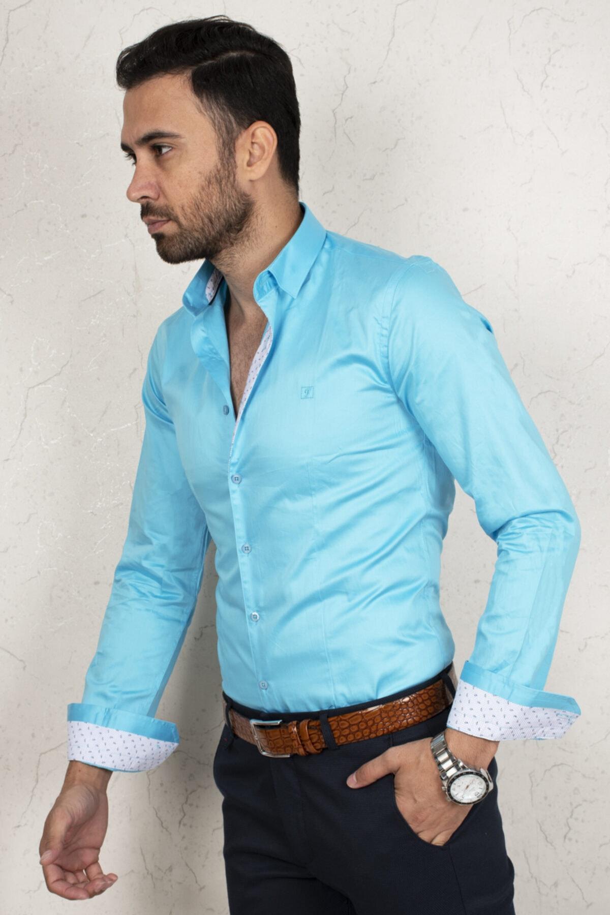 DeepSEA Erkek Mavi Saten Regular Fit Uzun Kol Gömlek 2000172 1