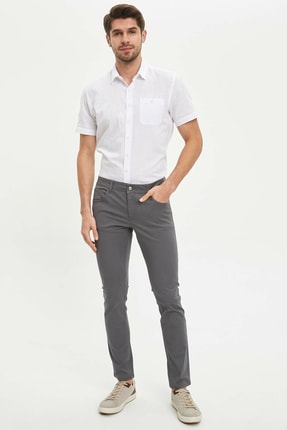 DeFacto Erkek Gri Slim Fit Chino Pantolon