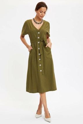 DeFacto Kadın Yeşil Regular Fit Dokuma Elbise N0546AZ.20SP.GN911