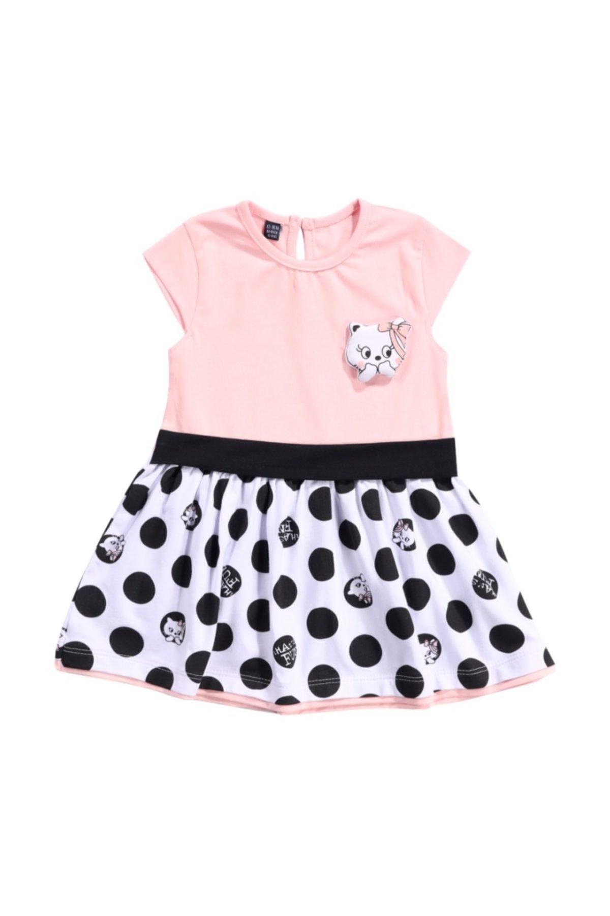 Bebüş Miniworld Kız Bebek 6/24 Ay Penye Pamuklu Elbise 1