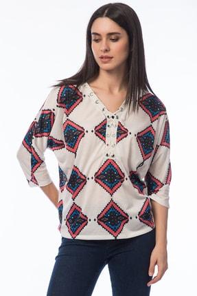 Şans Kadın Bej Yaka Detaylı Bluz 85N5250