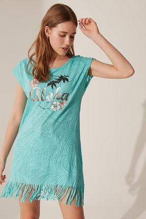 LC Waikiki Kadın Turkuaz Elbise 0S2841Z8
