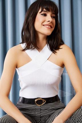 Olalook Kadın Beyaz Çapraz Yakalı Yazlık Triko Bluz BLZ-19000870