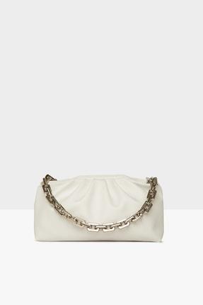 Bagmori Beyaz Kadın Plastik Zincirli Burslu Bohça Çanta M000004224
