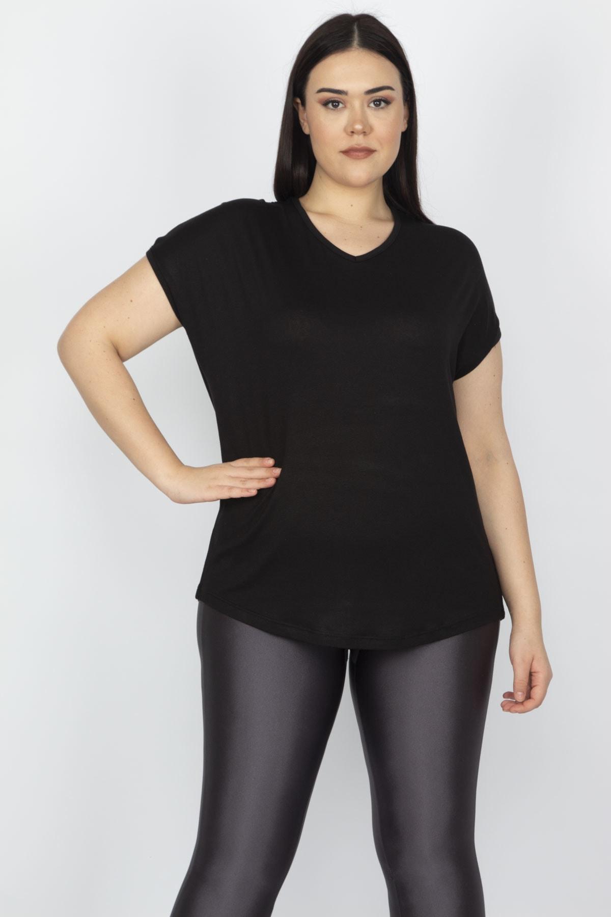 Şans Kadın Siyah Sırt Detaylı Viskon Bluz 65N15183 1
