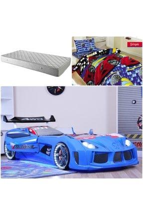 Setay Audi Arabalı Yatak Kapıları Açılan Rüzgarlıklı Mavi + Ortopedik Yatak + Nevresim