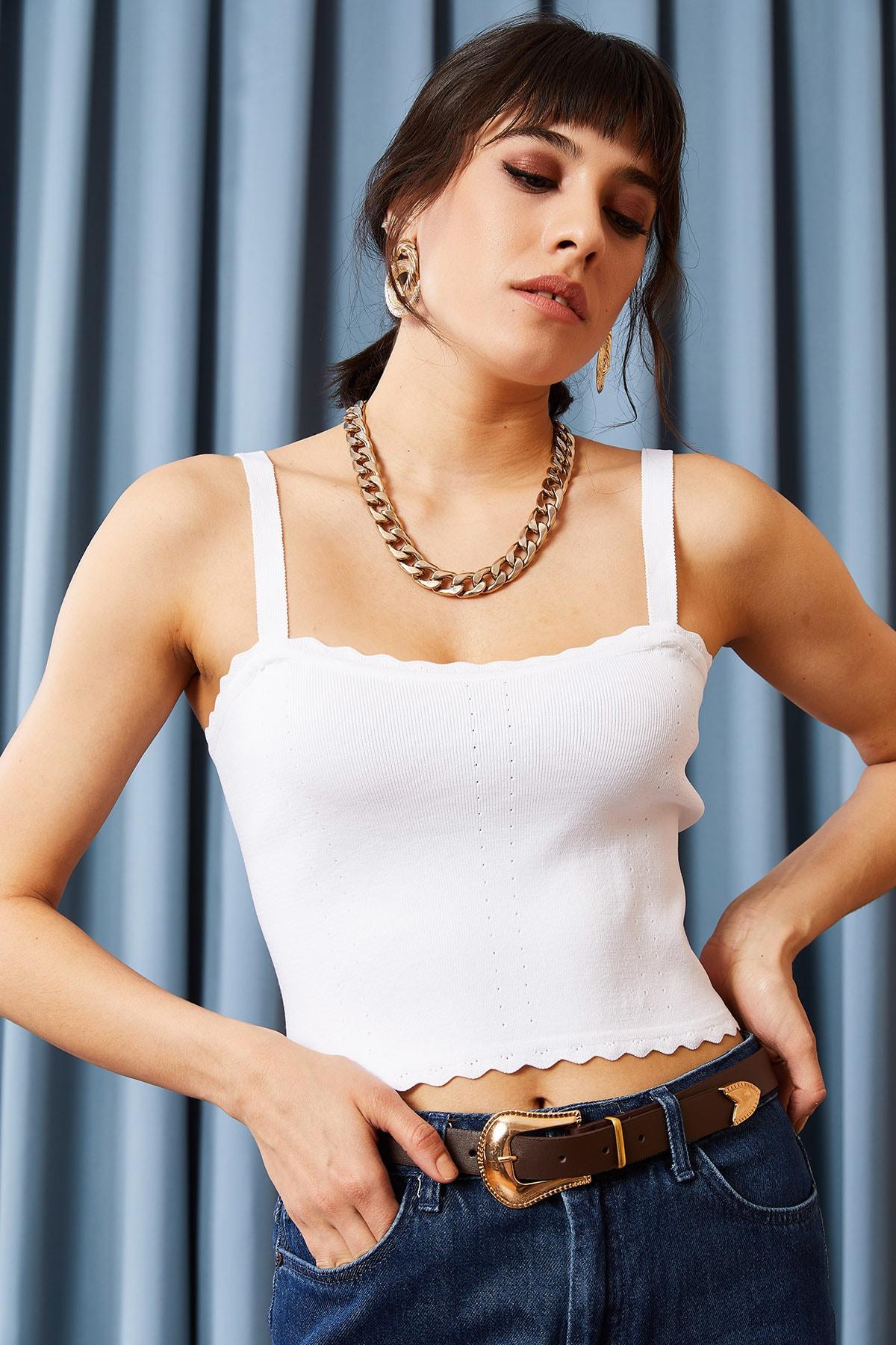 Olalook Kadın Beyaz Fırfırlı Yazlık Bel Üstü Triko Bluz BLZ-19000882 1