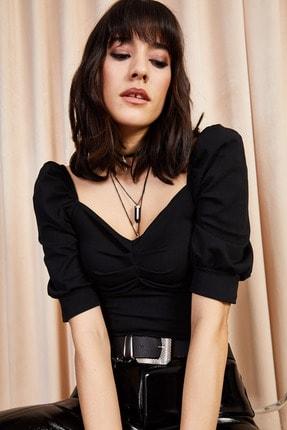 Olalook Kadın Siyah Önü Büzgülü Kol Detaylı Likralı Bluz BLZ-19000857