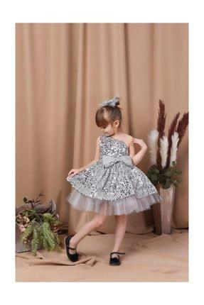 Buse&Eylül Bebe Gri Tek Kol Pullu Tokalı Elbise