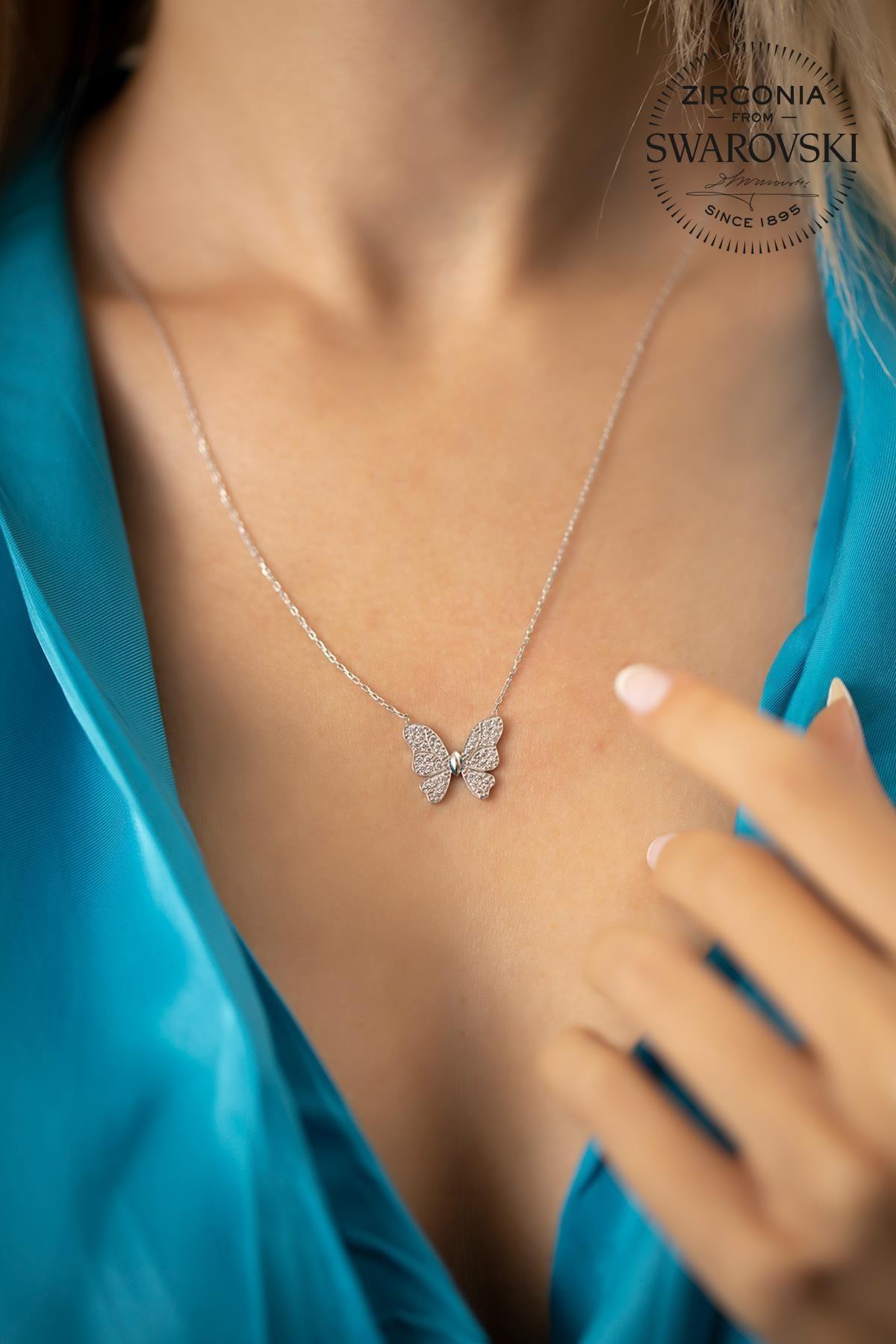 Ninova Silver Kadın Swarovski Taşlı Kelebek Model Gümüş Kolye PKT-SBS0590