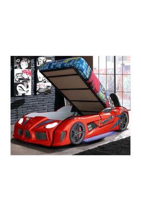 Setay Audi V7 Bazalı Full Ledli Kapıları Açılan Arabalı Yatak Kırmızı + Ortopedik Yatak + Nevresim