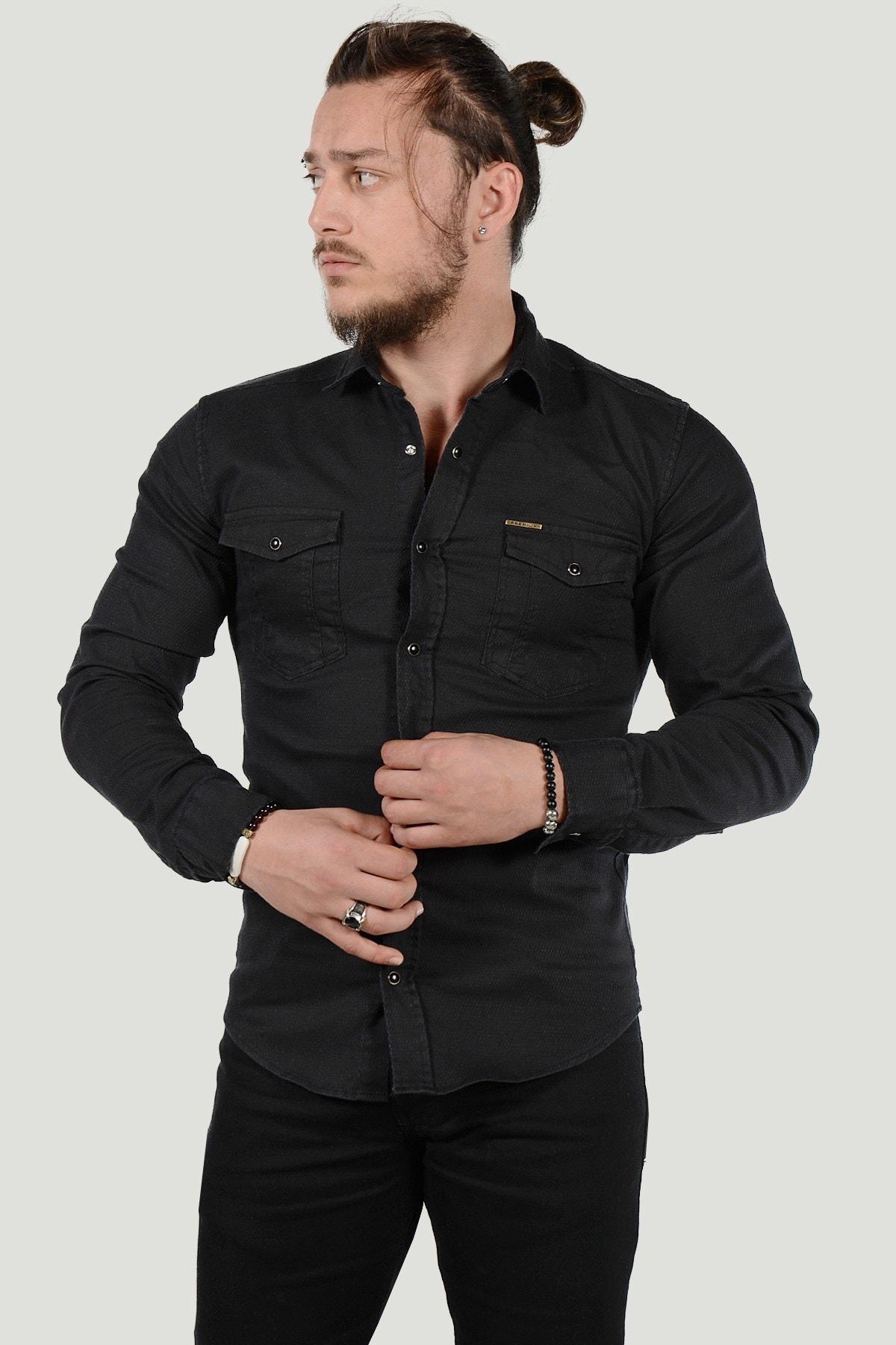 Terapi Men Erkek Slim Fit Kot Gömlek 20K-4300426 Siyah