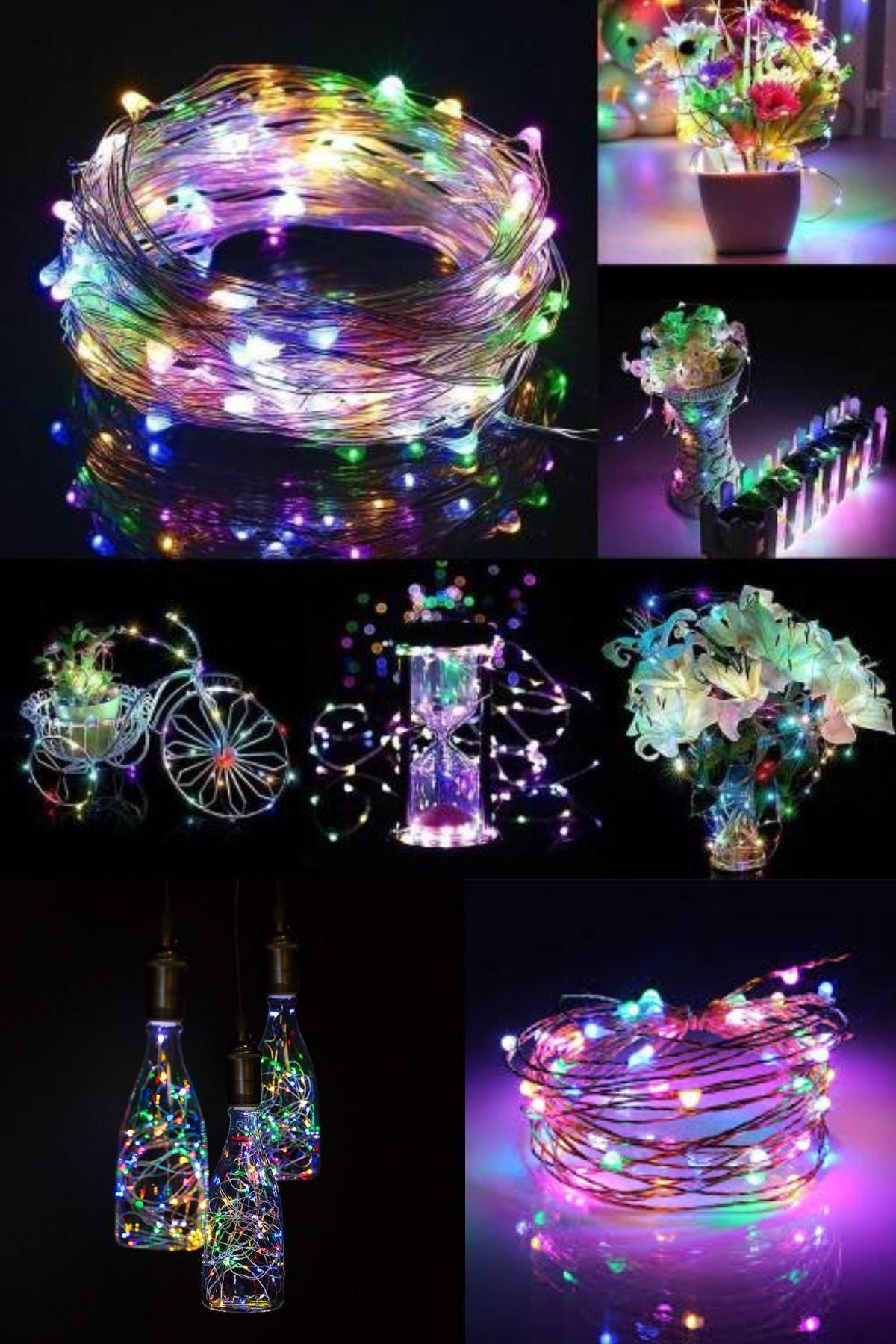 Parti dolabı Peri Led Işık 10 Metre (Rgb) Pilli Led Renkli