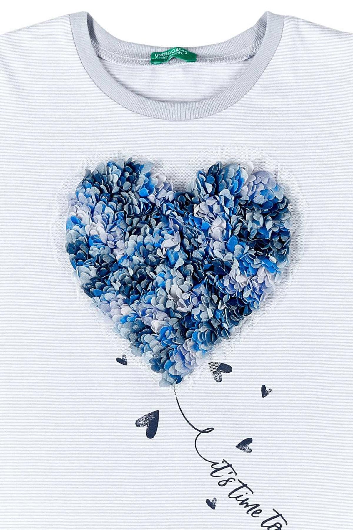 United Colors of Benetton Mavi Kız Çocuk 3 Boyutlu Kurdela İşlemeli Tshirt 2