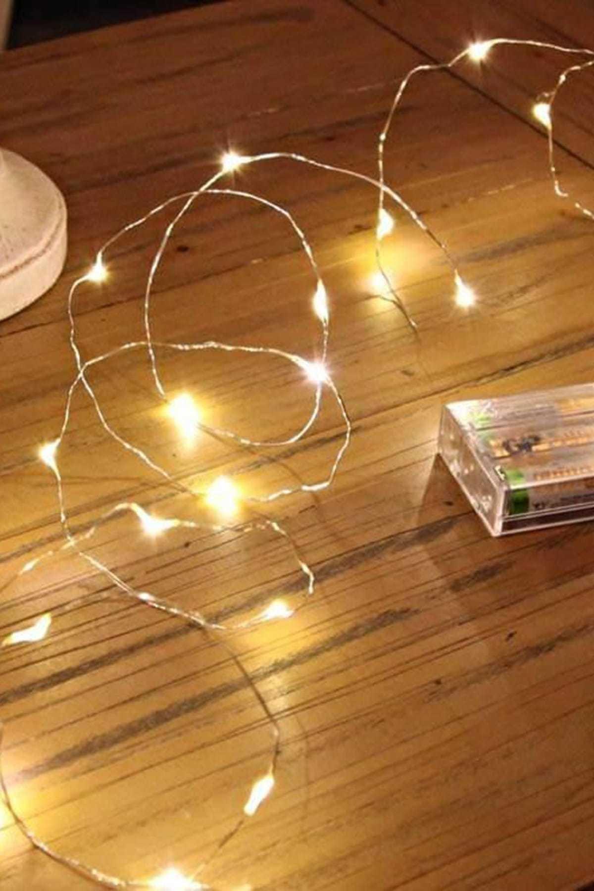 Parti dolabı Pilli Peri Led Işık 4 Metre 10 Adet Mini Mandal Seti