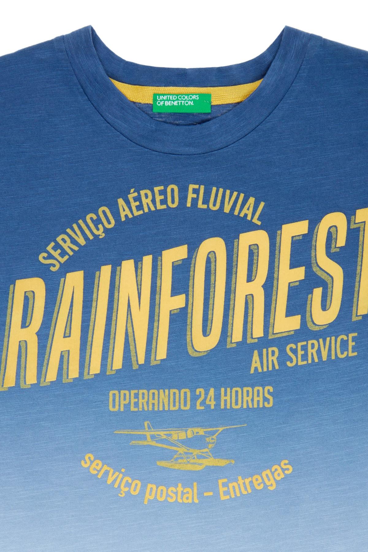 United Colors of Benetton Koyu Mavi Erkek Çocuk Rainforest Yazılı Degrade Tshirt 2
