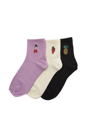 TRENDYOLMİLLA 3'lü Çok Renkli Nakışlı Örme Çorap TWOSS20CO0031