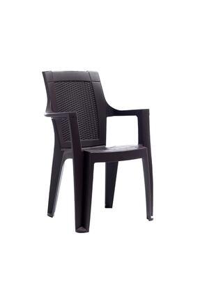 Gardelia Elegance Rattan Efektli Plastik Koltuk Bahçe Sandalyesi - Koyu Kahve