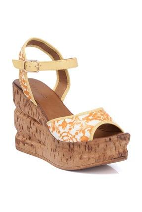 Tergan Sarı Deri Kadın Sandalet 64324J63