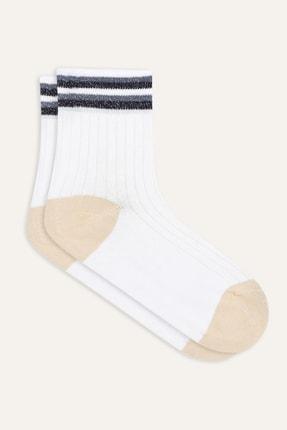 Mudo Kadın Beyaz Simli Çorap 371882