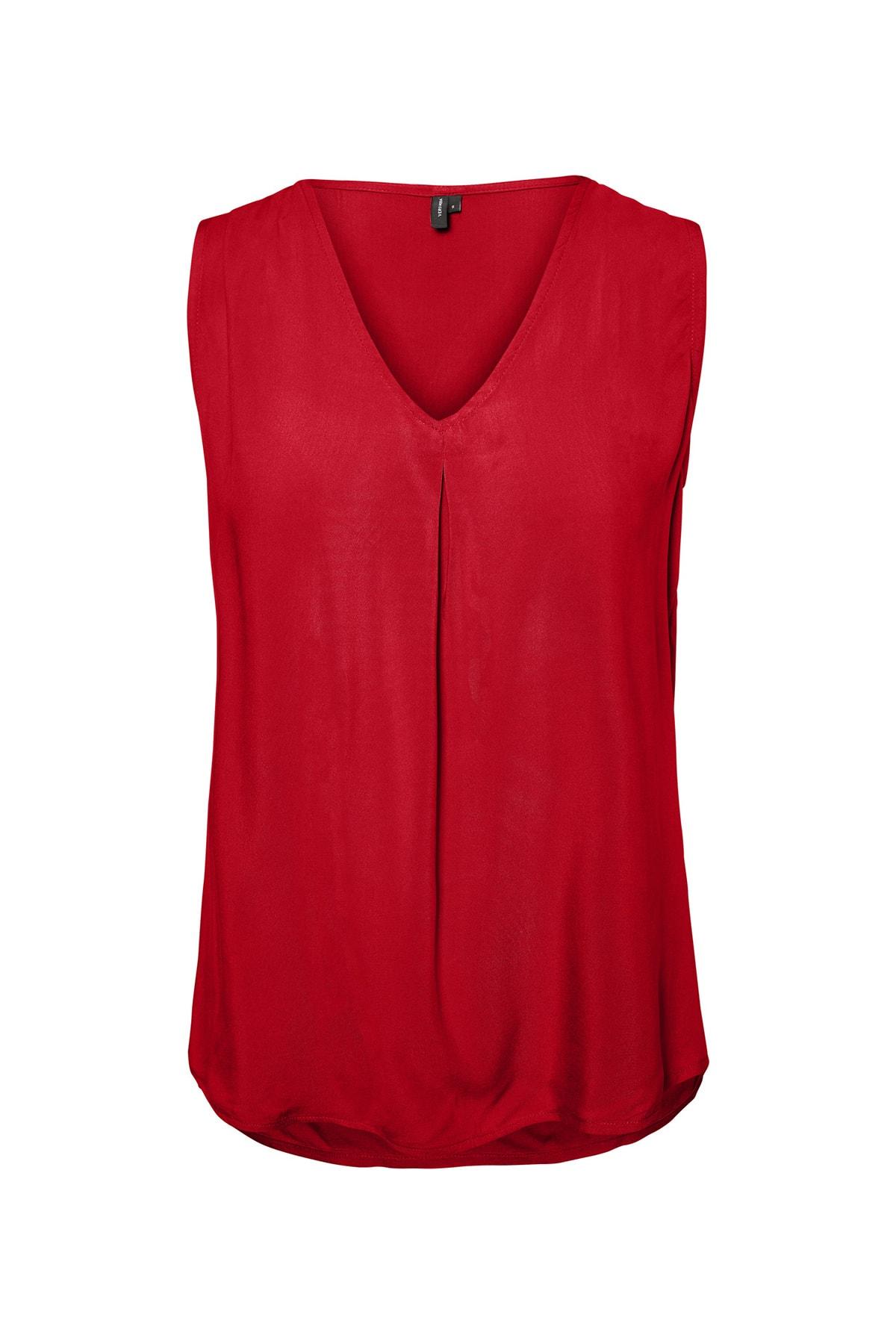Vero Moda Kadın Kırmızı V Yaka Kolsuz Viskon Bluz 10212968 VMEVA