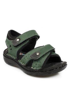 Toddler 7029 P Çift Cırt Yeşil Çocuk Sandalet