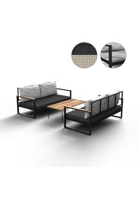 NEMSA METAL Bahçe Cafe Balkon Kanepe Takımı Antrasit Renk 2+2+sehpa