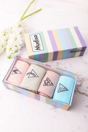 Mudiso 4'lü Renkli Unisex Minimalist Doğa Tema Nakışlı Özel Kutulu Örme Soket Çorap