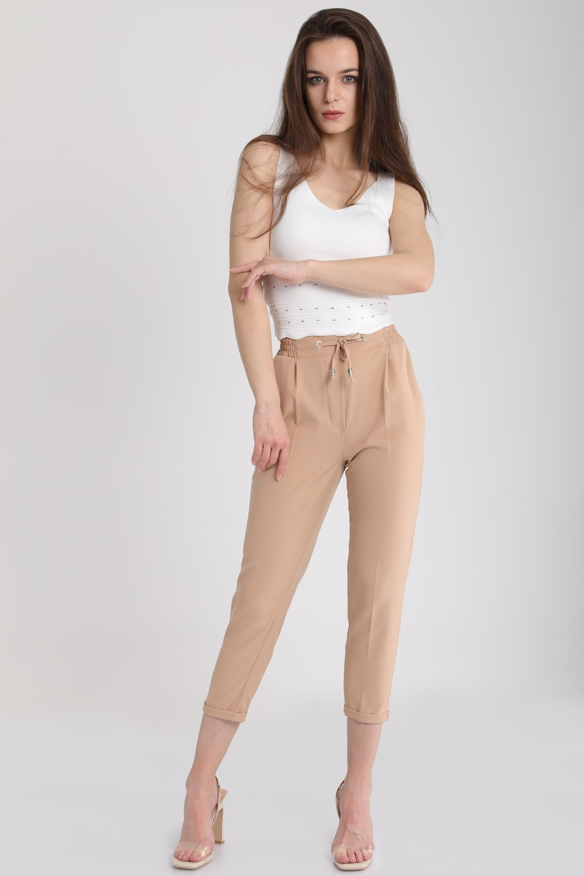 MD trend Kadın Taş Bağlamalı Lastikli Duble Paça Pantolon MDT4805
