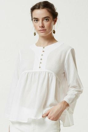 Yargıcı Kadın Kırık Beyaz Roba Detaylı Gömlek 0YKGM6135X