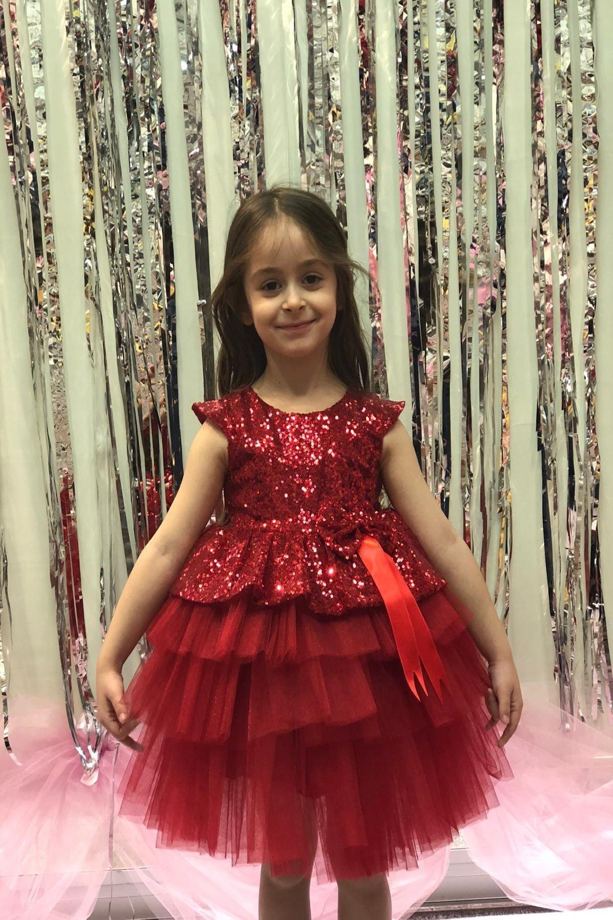 Buse&Eylül Bebe Kırmızı Pullu Prenses Elbise