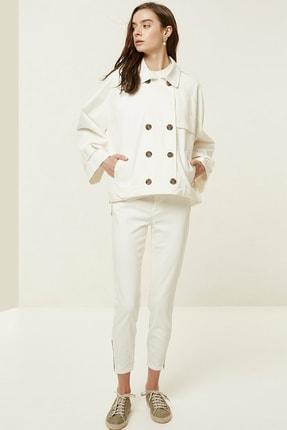 Yargıcı Kadın Kırık Beyaz Fermuar Detaylı Denim Pantolon 0YKPN3132X