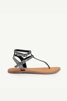 Yargıcı Kadın Koyu Gri Deri Sandalet 0YKAY4038X
